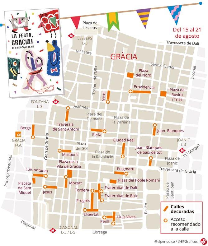 Mapa de las calles engalanadas de las Fiestas de Gràcia 2019