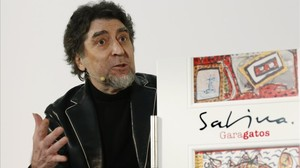 Joaquín Sabina, durante la rueda de prensa de presentacion de Garagatos, en Madrd.