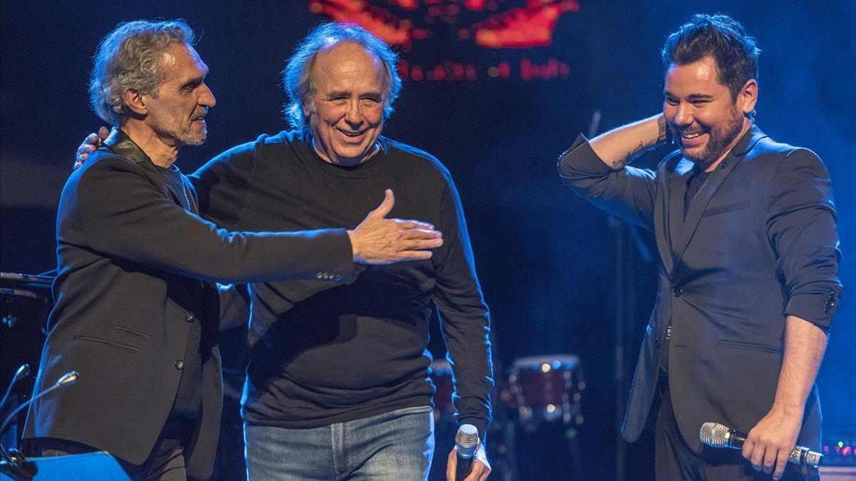 Joan Albert Amargós, Joan Manuel Serrat y Miguel Poveda