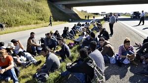Un grupo de refugiados descansan en medio de una autopista en el sur de Dinamarca.
