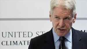 El actor Harrison Ford, durante su discurso en la Cumbre del Clima.