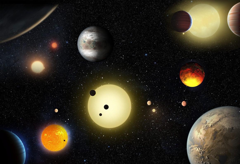 Imagen cedida por la NASA de un concepto artístico de planetas descubiertos por el telescopio espacial Kepler.