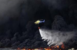 Incendio del cementerio de neumáticos de Seseña, el viernes 15 de mayo.