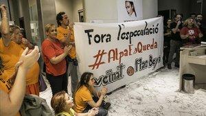 Protesta del Sindicat de Llogaters por un intento de desalojo de unos inquilinosel pasado mes de octubre.