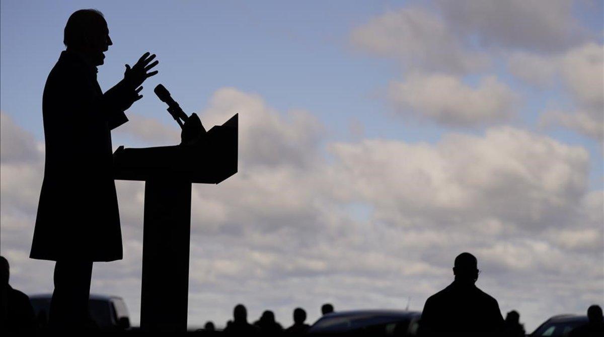 Joe Biden en un acto de campaña este lunes.