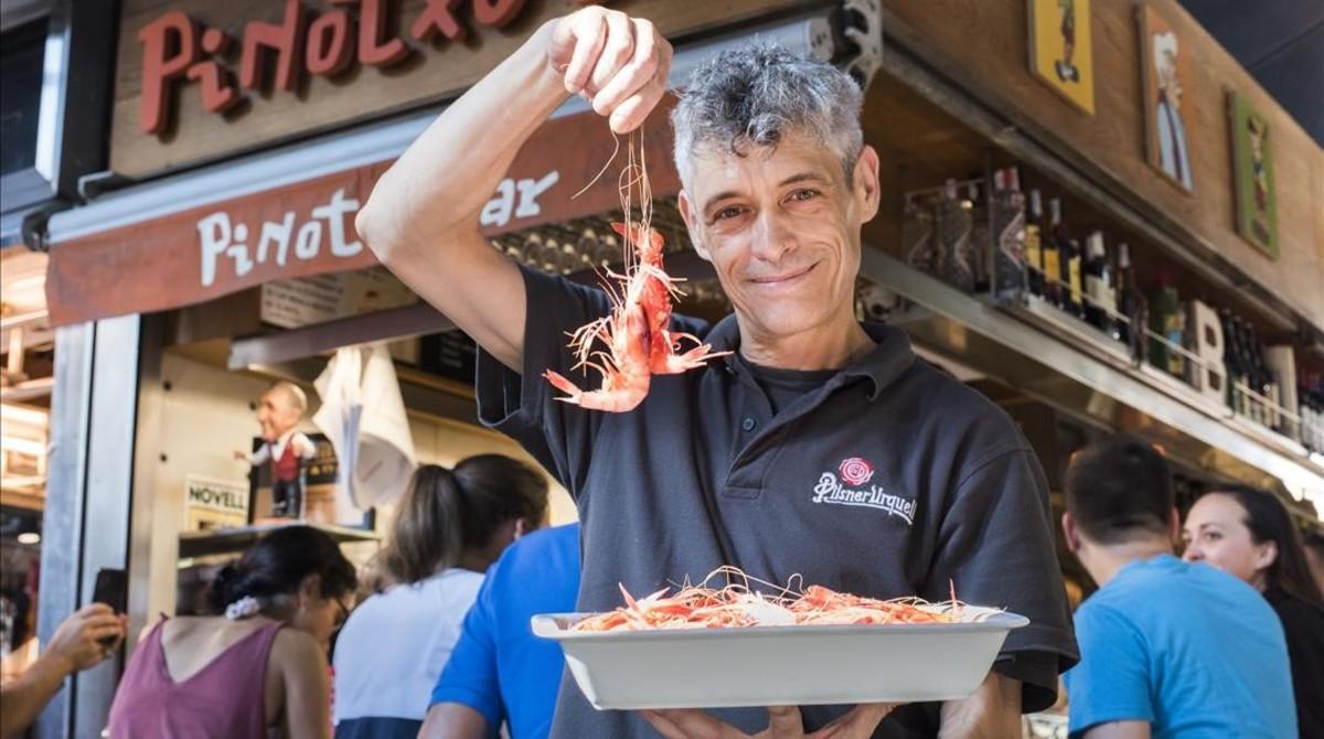 Quadern de gastronomia de Miquel Sen: gambes d'ulls brillants al bar Pinotxo