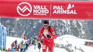 Kilian Jornet, a punto de cruzar la meta en segunda posición en el kilómetro vertical de la Copa del Mundo en Vallnord.