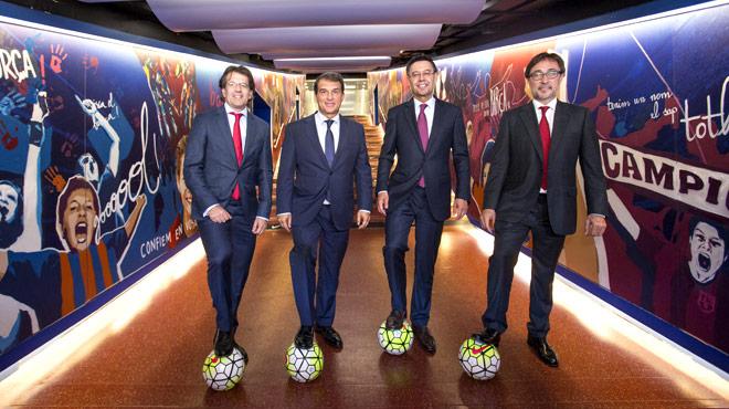 Toni Freixa, Joan Laporta, Josep Maria Bartomeu y Agustí Benedito, candidatos a la presidencia del Barça, posan para EL PERIÓDICO DE CATALUNYA antes de las elecciones.
