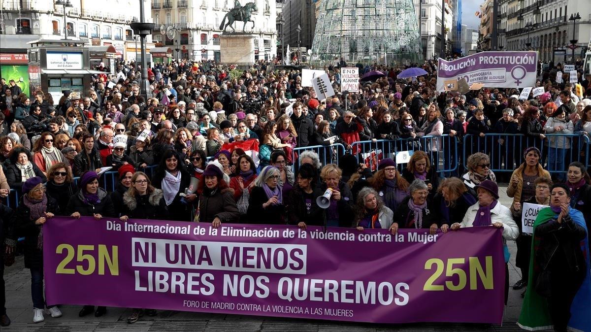 Manifestación en Madrid, este domingo contra la violencia de género.