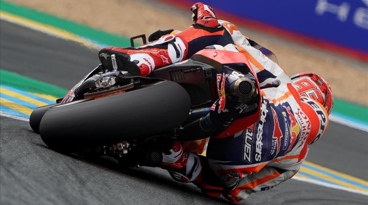 Marc Márquez (Honda), hoy, en Le Mans (Francia), en una de sus vueltas rápidas.