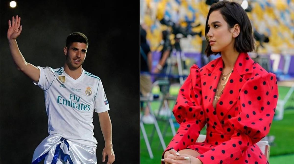 El futbolista Marco Asensio y la cantante Dua Lipa.