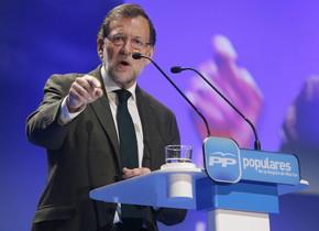 El president del Govern, Mariano Rajoy, durant la seva intervenció en la clausura de la Convenció del Partit Popular de la Regió de Múrcia.