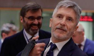 El ministro español de Exteriores, Fernando Grande-Marlaska, a su llegada a Bruselas.