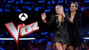 Miriam Rodríguez y Eva González en la 'Batalla final' de 'La voz' en Antena 3.