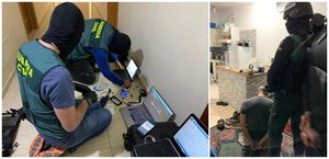 Momento de la operación de la Guardia Civil para detener al presunto yihadista en Tenerife.