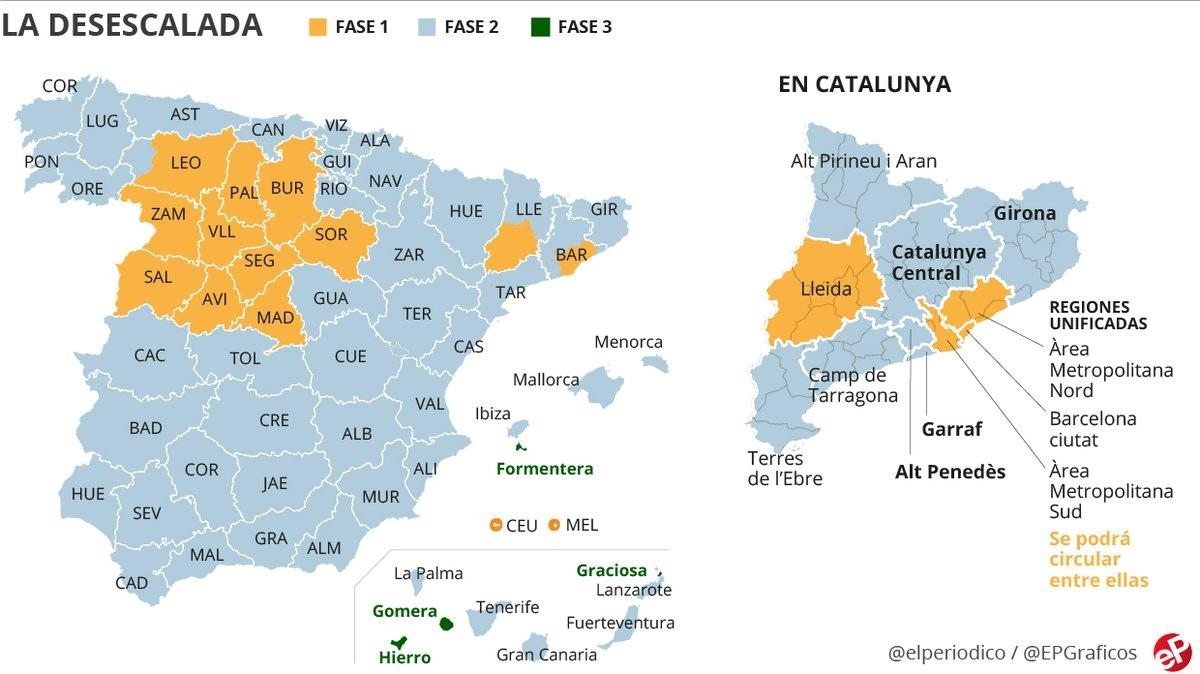 Espanya, dividida en fases: ¿què es pot fer a cada territori des de dilluns?