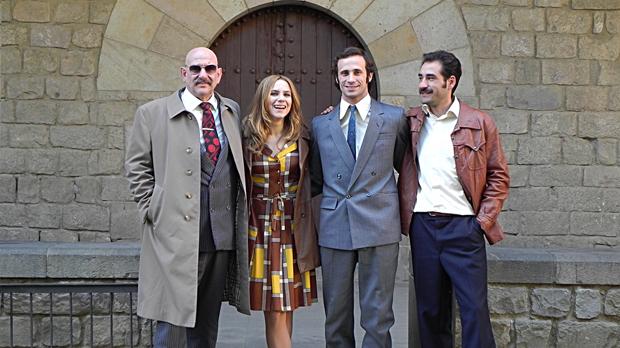 Rodaje de la nueva serie de Movistar +, El día de mañana, protagonizada por Oriol Pla y Aura Garrido.