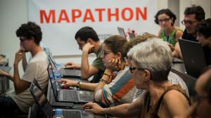 Participantes en el mapatón de julioen Barcelona.