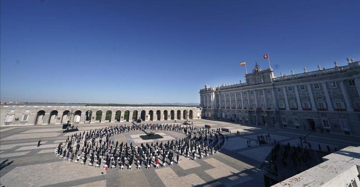 El Patio de la Armería del Palacio Real, durante el homenaje.