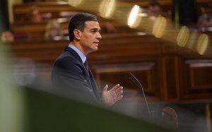 Pedro Sánchez interviene en el pleno del Congreso.
