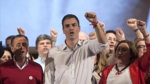 Pedro Sánchez, durante un acto con militantes, el pasado domingo en Cádiz.