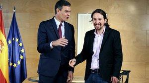 Pedro Sánchez y Pablo Iglesias, en la reunión que mantuvieron en Madrid el pasdo 9 de julio.