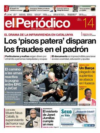 La portada de EL PERIÓDICO del 14 de abril del 2019.