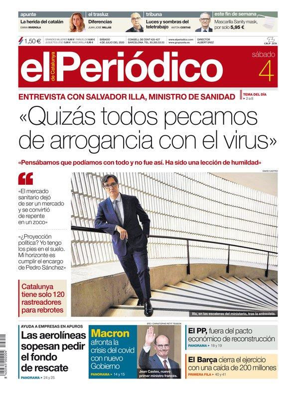La portada de EL PERIÓDICO del 4 de julio del 2020