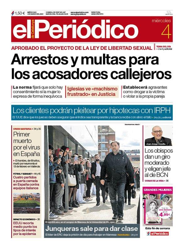 La portada de EL PERIÓDICO del 4 de marzo del 2020.
