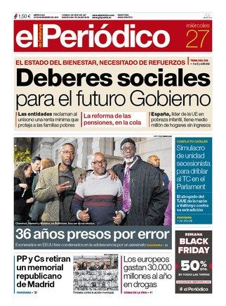 La portada de EL PERIÓDICO del 27 de noviembre.