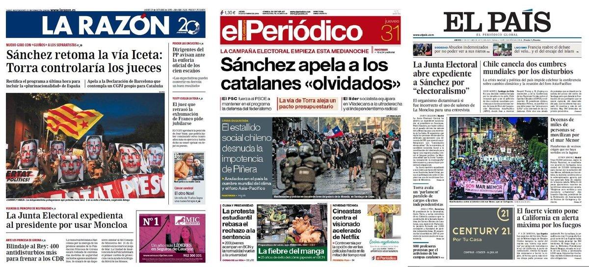 Prensa de hoy: Las portadas de los periódicos del jueves 31 de octubre del 2019