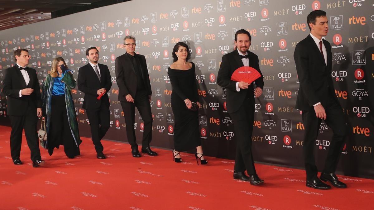 Premios Goya 2018. Pedro Sánchez, Pablo Iglesias, Alberto Garzón y Albert Rivera.