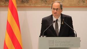 El president de la Generalitat, Quim Torra, durante su comparecencia esta mañana.