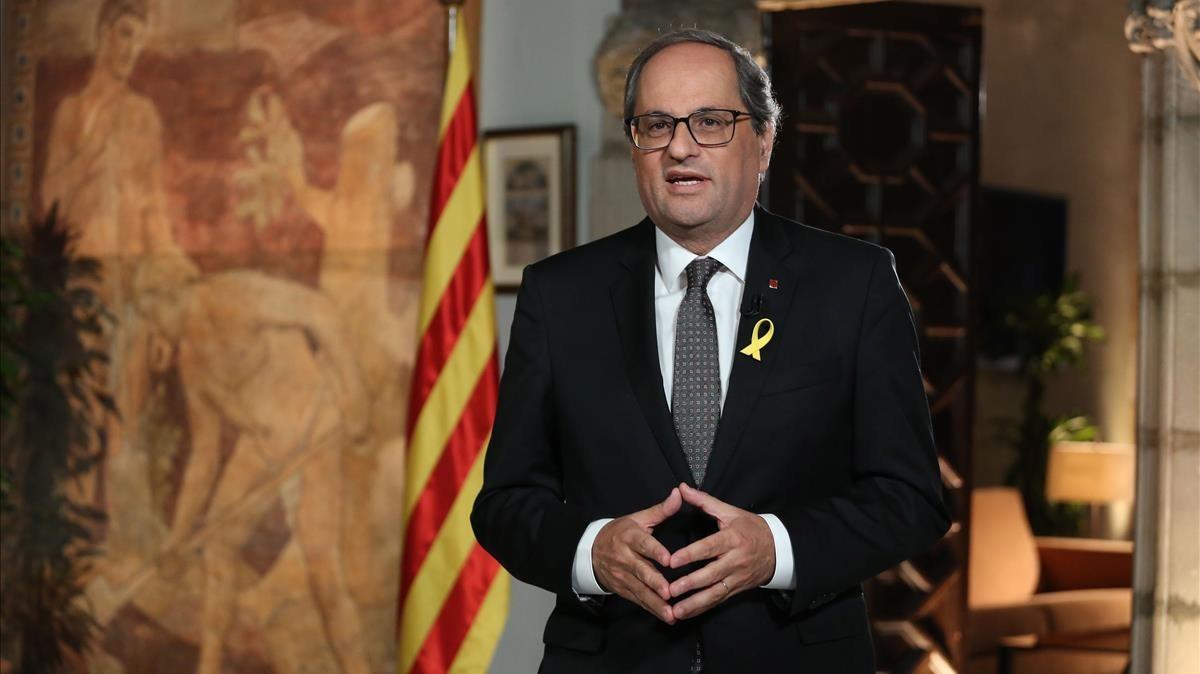 El president Torra durante el mensaje institucional con motivode la Diada Nacional de Catalunya.