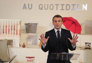 El presidente francés, Emmanuel Macron, en un acto en el Palacio del Elíseo, ayer.