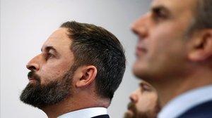 El presidente de Vox, Santiago Abascal, y el secretario general, Javier Ortega Smith.