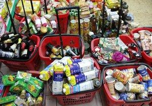 Productos decomisados por la Guardia Urbana en un supermercado de la calle de Diputació, 216, el mes pasado.