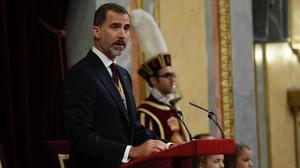 El Rey Felipe VI, acompañado de su familia, ha pronunciado el tradicional discurso con el que se da por inaugurada solemnemente la legislatura
