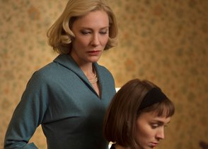 This photo provided by The Weinstein Company shows Cate Blanchett, left, and Rooney Mara in a scene from the film, Carol. The film was nominated for a Golden Globe award for best motion picture drama on Thursday, Dec. 10, 2015. Mara and Blanchett were also each nominated for best actress in a drama film. The 73rd Annual Golden Globes will be held on Jan. 10, 2016. (Wilson Webb/The Weinstein Company via AP)