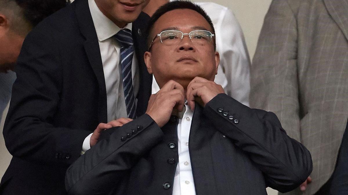 Chen Yansheng, en un partido en el RCDE Stadium.