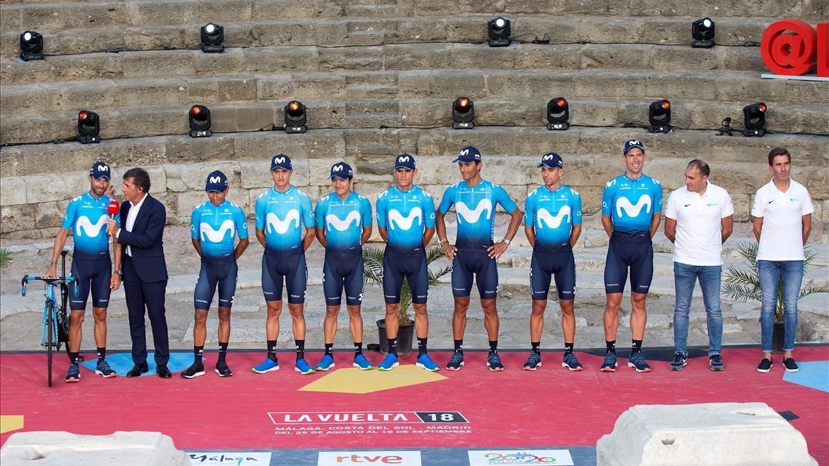 Los corredores del Movistar, durante la presentación oficial de equipos de la Vuelta 2018, en Málaga.
