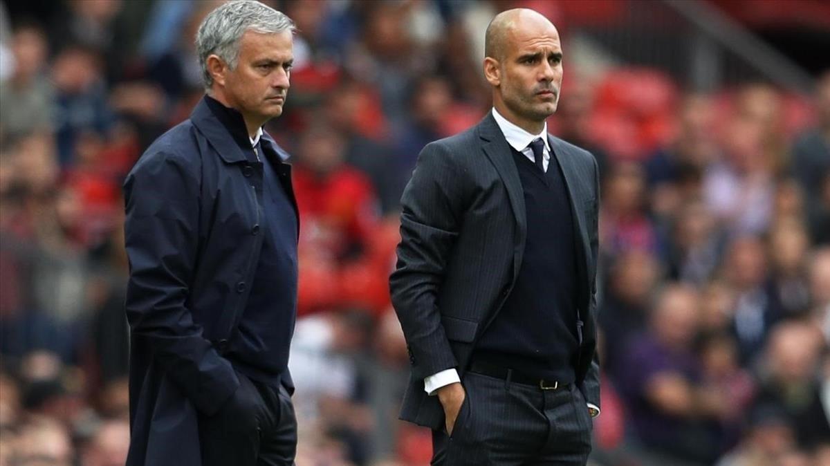 Mourinho y Guardiola, en un enfrentamiento anterior.
