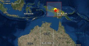 La zona del sismo en Nueva Guinea en Indonesia.