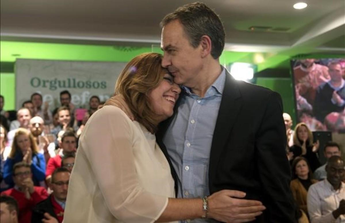La presidenta de Andalucía, Susana Díaz, y el expresidente del Gobierno José Luis Rodríguez Zapatero, en un mitin en Jaén.