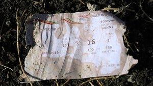 Tarjeta de embarque del vuelo ET 302 de Ethiopian Airlanes, siniestrado en Bishoftu (Etiopia).