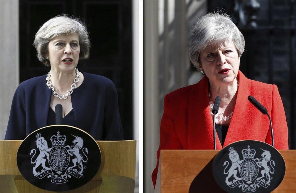 Theresa May, el día que se convirtió en primera ministra británica (izquierda) y tres años después, tras poner fecha a su renuncia.