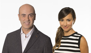 Tomàs Molina y Laia Servera, los presentadores de la cabalgata de TV-3.
