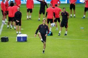 Julen Lopetegui durante el entrenamiento del Real Madrid en Tallin.