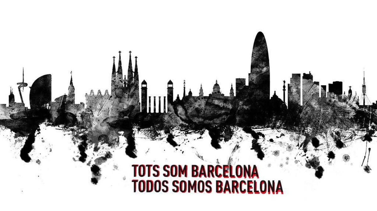 Una de las imágenes difundidas en Twitter en solidaridad con Barcelona.