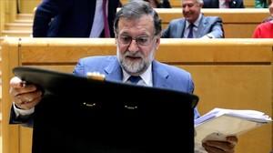 El presidente del Gobierno, Mariano Rajoy, en el Senado, en una imagen de archivo.